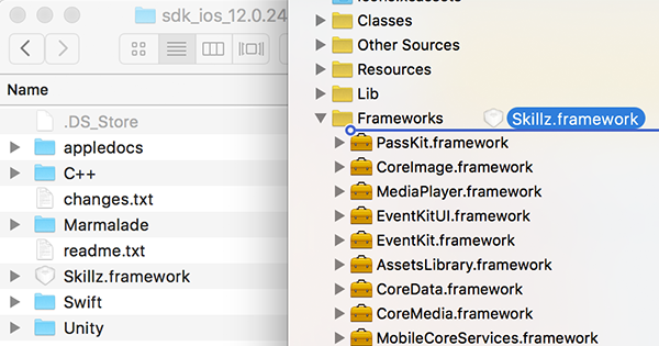 Dragging the Skillz SDK into Framework
